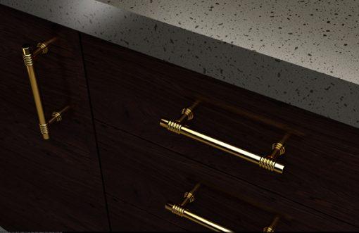 tiradores en zamak - en un mueble marrón