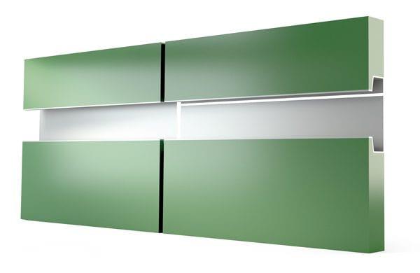 tiradores modernos para muebles - plateados en mueble verde-